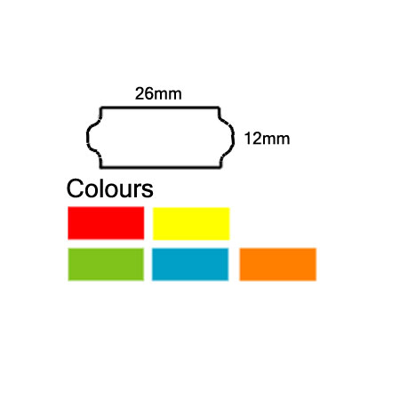 Pricing Gun Labels 26mm x 12mm Pack of 10 Rolls For 2612 Pricing Gun