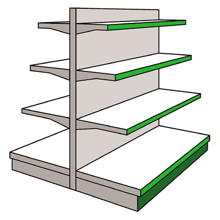 AMX Shopfitting Shelving Display System Gondola Bays