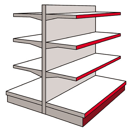 A03GD - AMX35 Shop Display Shelving Double Sided Gondola