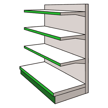A03GS - AMX35 Shop Display Shelving Single Sided Gondola