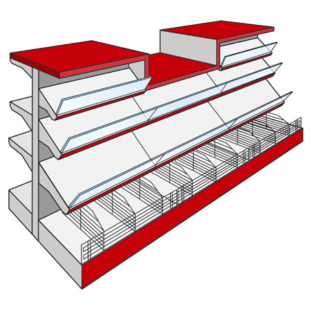 AMX Shopfitting Shelving Display System Counters