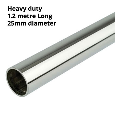 Heavy duty 1200mm length of 25mm diameter chrome round tube