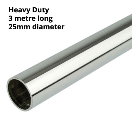 Heavy duty 3mtr length of 25mm diameter chrome plated round tube