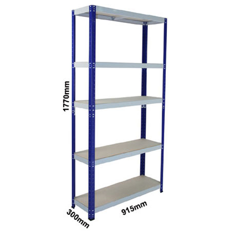CL265ABG - 900mm x 300mm Shelving complete with 5 shelf levels