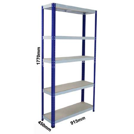 CL265BBG - 900mm x 450mm Shelving complete with 5 shelf levels