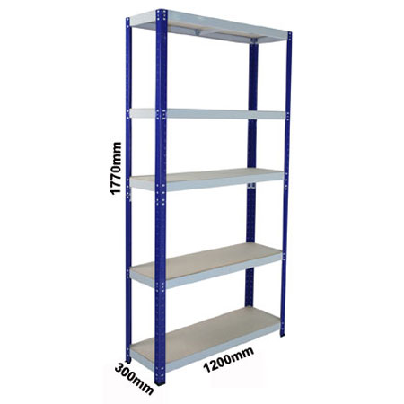CL265DBG - 1200mm x 300mm Shelving complete with 5 shelf levels