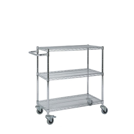 R911T4 Chrome plated wire shelving trolley 3 Shelves