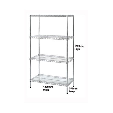 R9132 - Wire Shelving unit 1220mm Wide x 355mm Deep Bay with 4 Shelf Levels