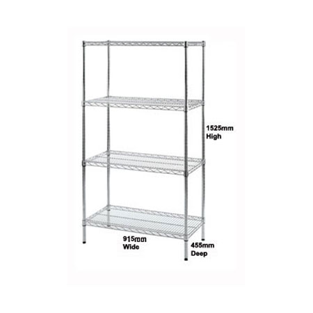 R9134 - Wire Shelving unit 915mm Wide x 455mm Deep Bay with 4 Shelf Levels