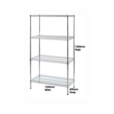 R9136 - Wire Shelving unit 1525mm Wide x 455mm Deep Bay with 4 Shelf Levels