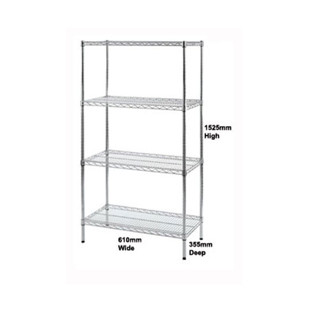 R91363 - Wire Shelving unit 610mm Wide x 355mm Deep with 4 Shelf Levels