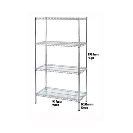 R9137 - Wire Shelving unit 915mm Wide x 610mm Deep Bay with 4 Shelf Levels