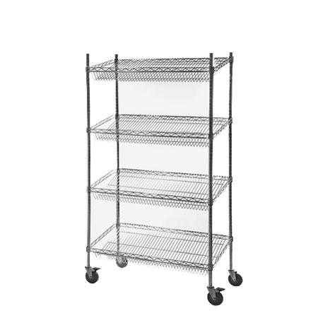 Wire Shelving Bays with Sloping Shelves