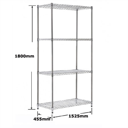 R9146 4 shelf chrome plated wire shelving bay 1525mm x 455mm