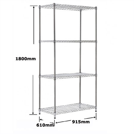 R9147 4 shelf chrome plated wire shelving bay 915mm x 610mm