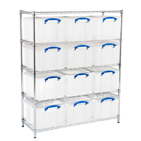Really Useful Boxes Chrome Wire Storage Shelves 12 x 35 Litres 1525 x 1220 x 455mm (HxWxD)