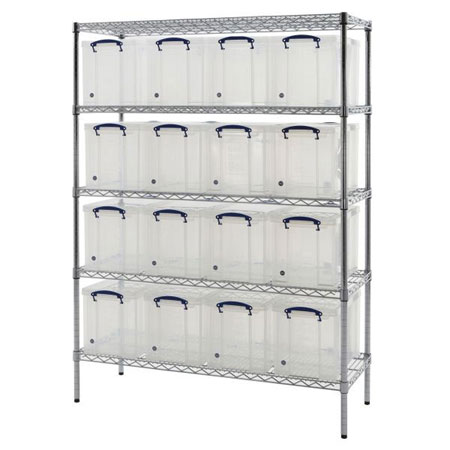 Really Useful Boxes Chrome Wire Storage Shelves 16 x 24 Litres 1525 x 1220 x 455mm (HxWxD)