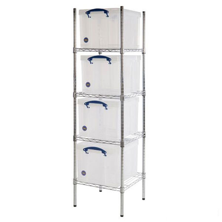 Really Useful Boxes Chrome Wire Shelving 4 x 35 Litre 1525 x 455 x 455mm (HxWxD)