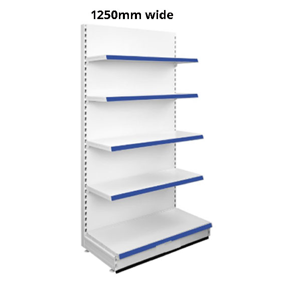 Quality Shop Display Shelving Wall Bay 1 1250mm wide