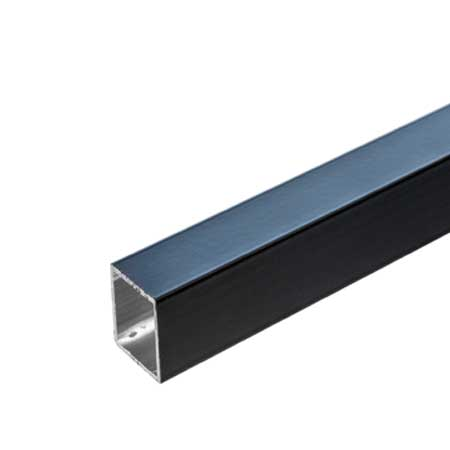 TZ3TB/ALU - 3mtr length of Black coated Aluminium Tube for 25mm square tube system
