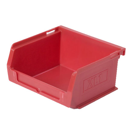 XL1R Red Size 1 small parts picking bin 90mm deep x 100mm wide x 50mm high