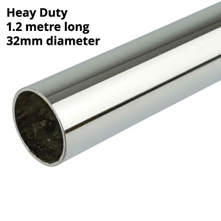 Heavy Duty 32mm Diameter chrome plated round tube 1200mm long