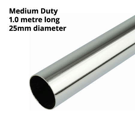 Medium / lighter duty 25mm diameter chrome plated round tube 1000mm length