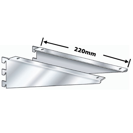 R1344 - pair 220mm chrome plated wooden shelf brackets for Twin Slot
