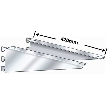 R1348 - pair 420mm chrome plated wooden shelf brackets for Twin Slot