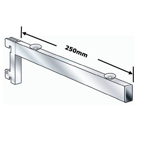 R1349 - 250mm Chrome Plated Glass Shelf Bracket for Twin Slot